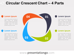 4Parts Circular Crescent PowerPoint Chart  PresentationGo