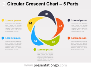 5Parts Circular Crescent PowerPoint Chart  PresentationGo