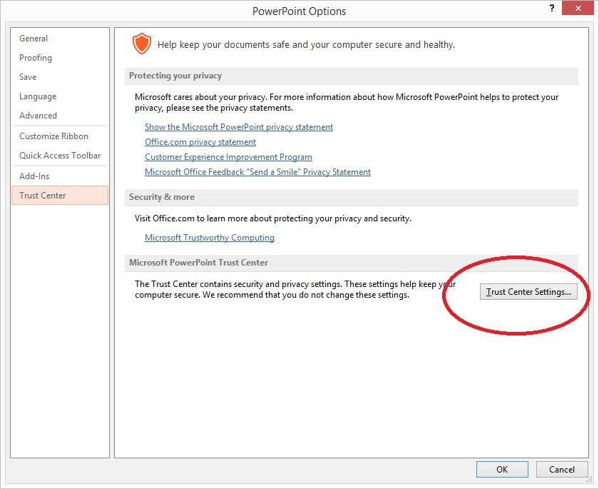 open trust center options in powerpoint