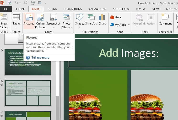 add images to your powerpoint digital menu board