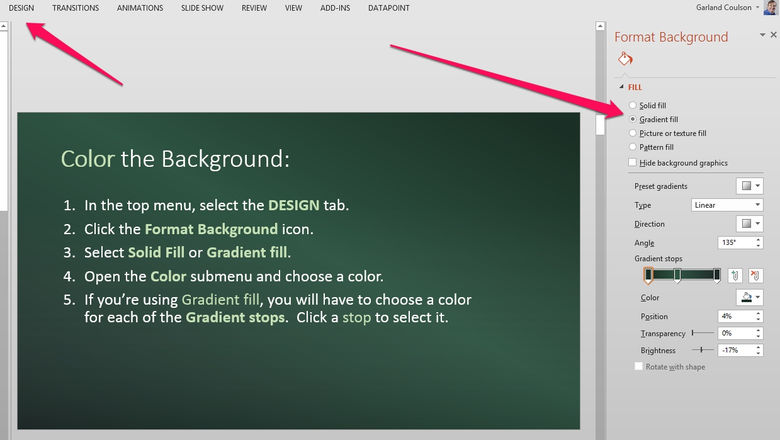 set a background color or pattern for your menu board
