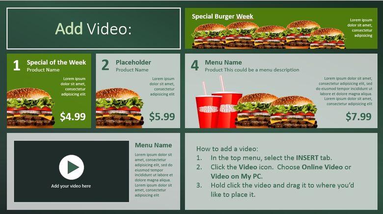 sample slide of a digital menu board for a restaurant in powerpoint