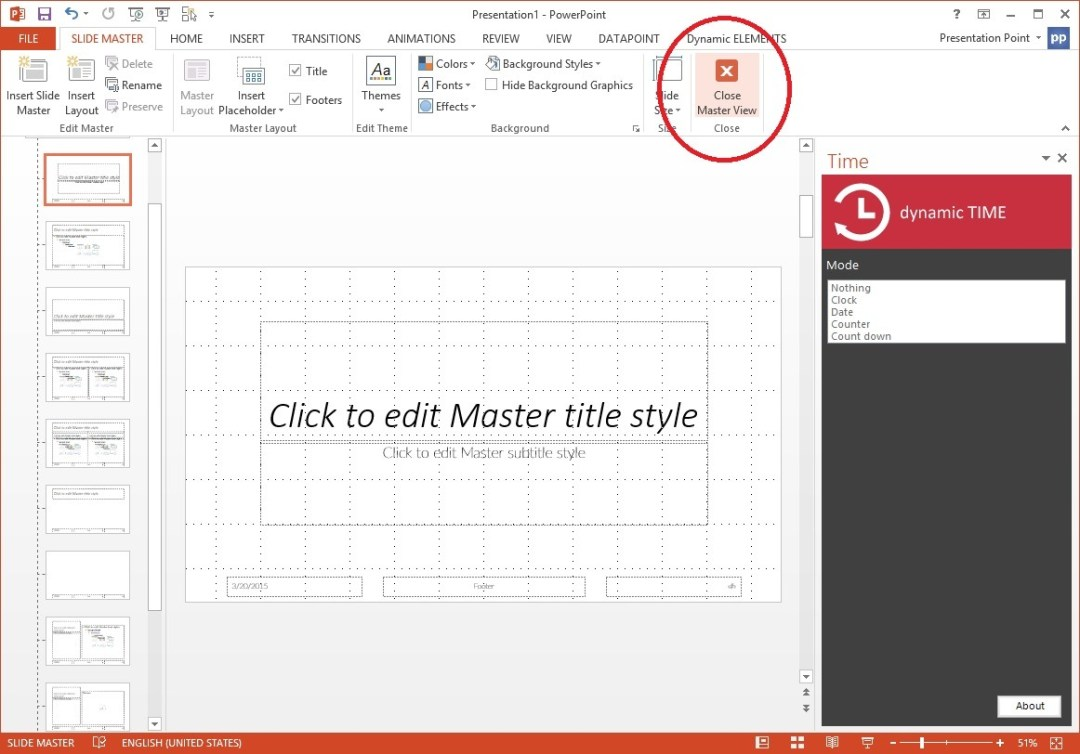 close the slide master view in powerpoint