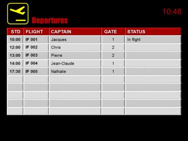 Airport flight information screens for flight simulator service 1