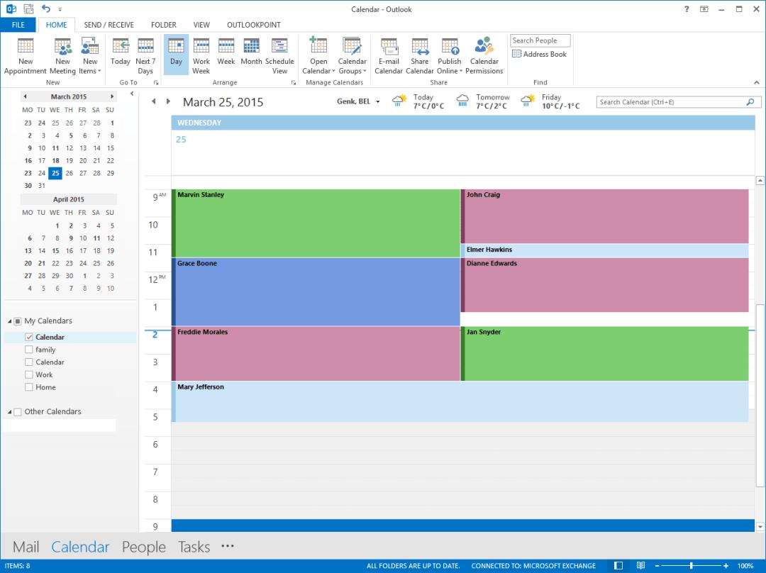 digital signage calendar info entry in outlook