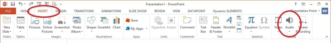 insert audio on powerpoint menu