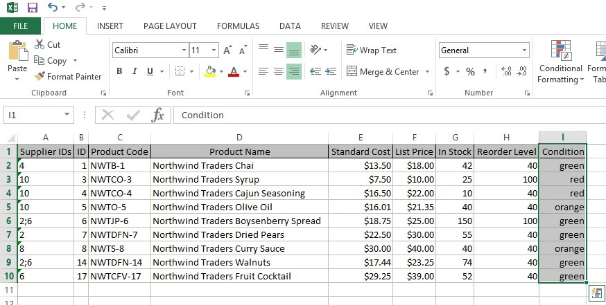 conditions entered in excel