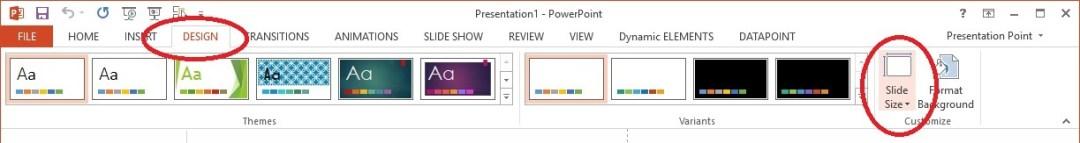 powerpoint resolution slide size button