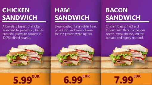 Premium PowerPoint Template for hamburger and take-away restaurants - sandwiches overview