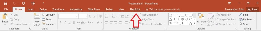 planpoint visible in powerpoint ribbon menu