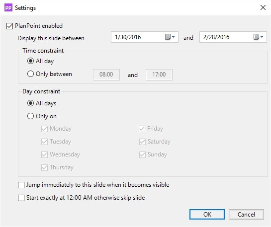 planpoint timing settings