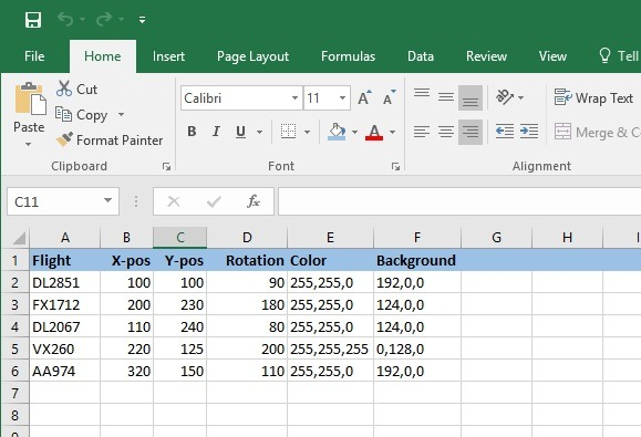 positioning information in Excel