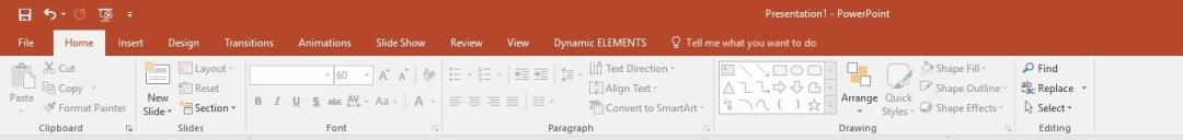 dynamic elements item in powerpoint ribbon
