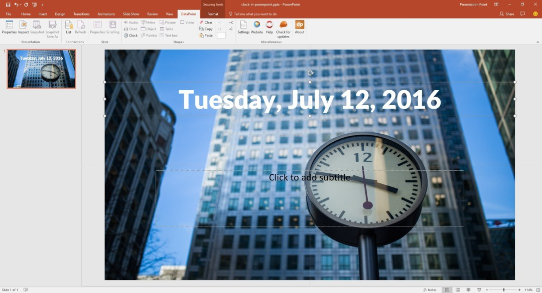 live date on powerpoint slide