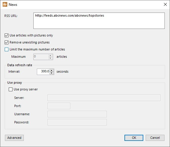 rss connection settings