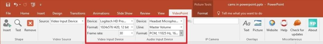 webcam properties; device, framerate, size