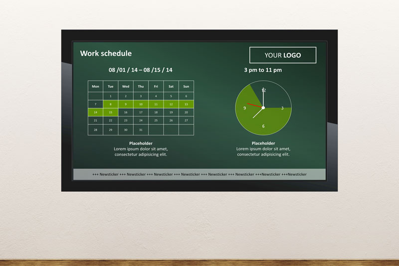 Free digital signage powerpoint template to display opening hours of a shop