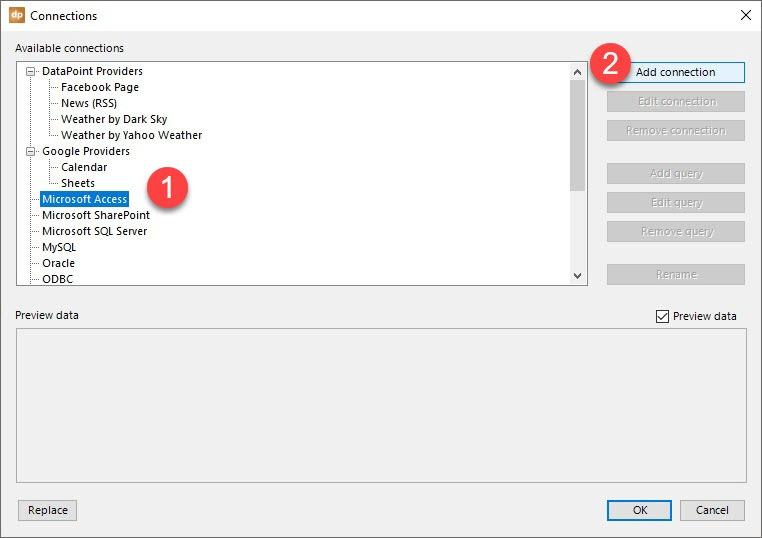 superbowl add database connection to slide