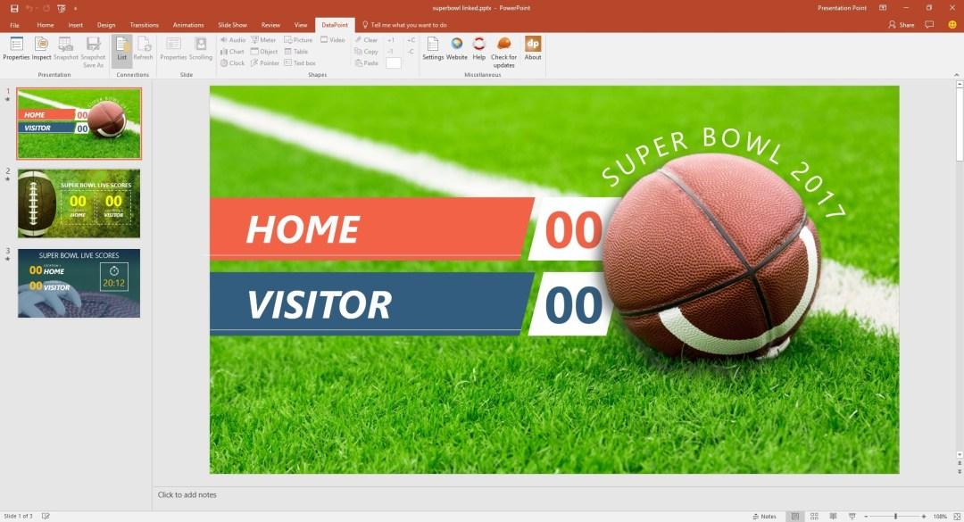 superbowl slides with static scores