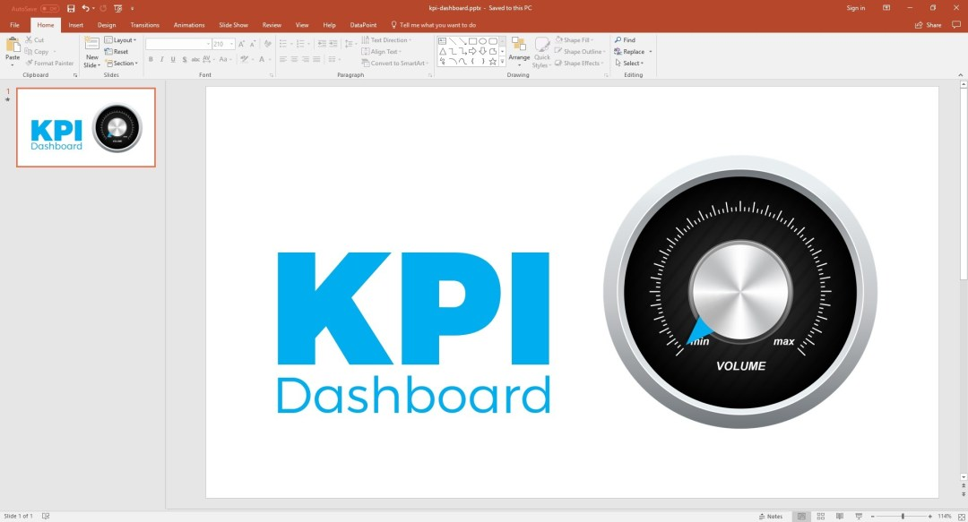 PowerPoint dashboard with real time guage
