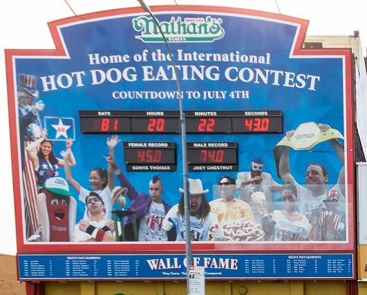 Nathan's Famous Hot Dog Contest Countdown Board