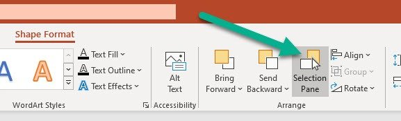 Open PowerPoint selection pane method 2