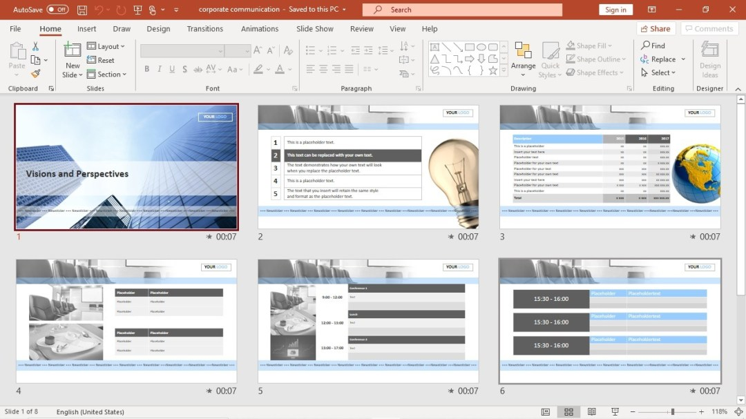 PowerPoint presentation as corporate screen saver
