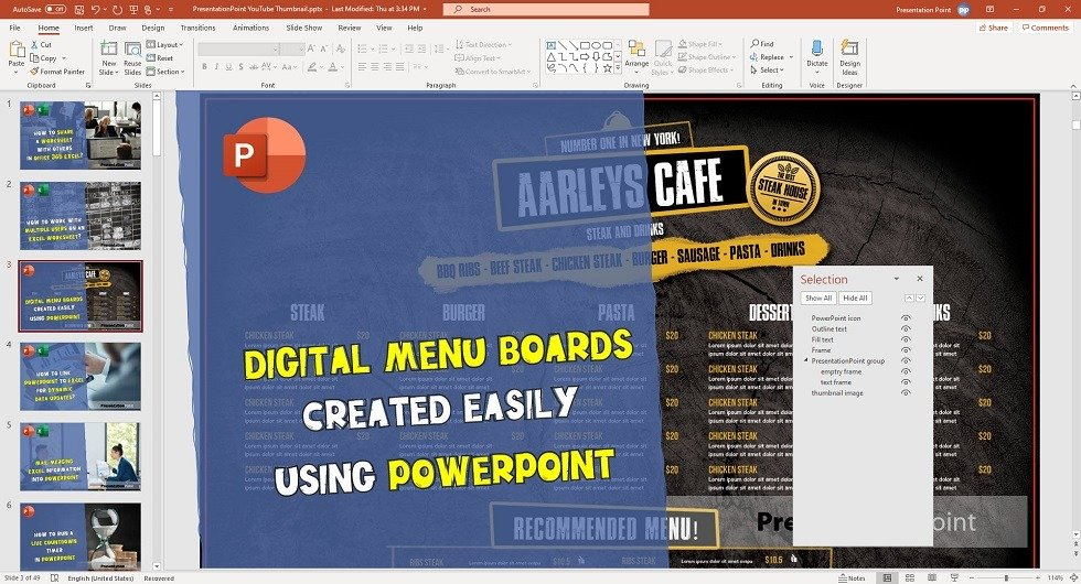 a floating selection pane in powerpoint