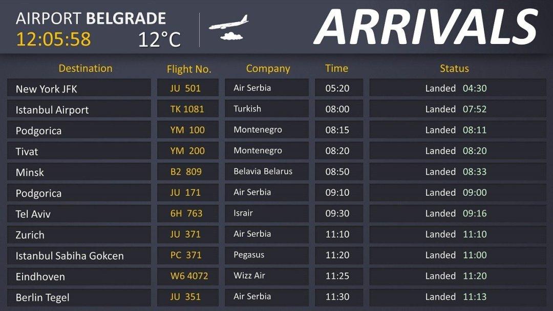 airport Belgrade flight info screen