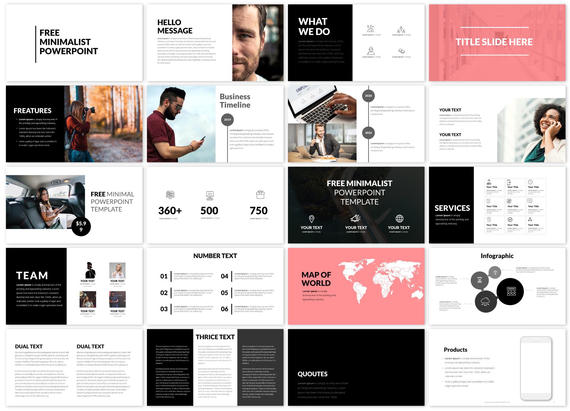 Free Minimalist Powerpoint Template And Minimalist Google Slides