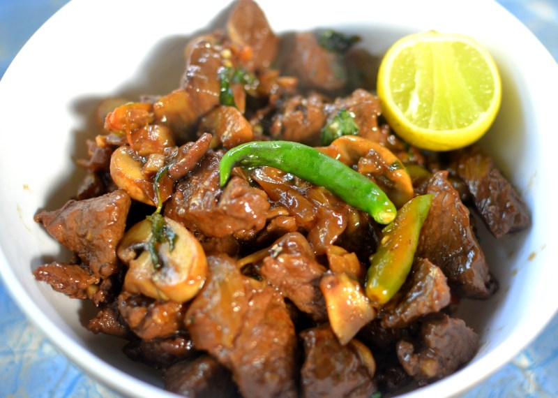 beef with mushrooms and Thai Basil