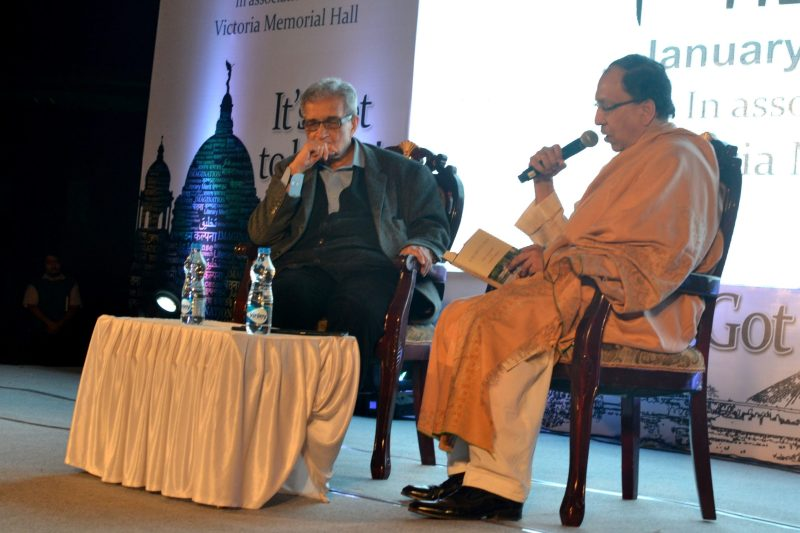 Sugata Bose speaks as Amartya Sen listens