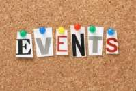 The word Events on a cork notice board