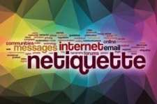 Netiquette word cloud with abstract background