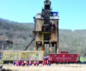 they LOVE the Renovo Tipple in Clinton County PA. Fans hold up valentines to support preservation of this sitet