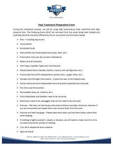 Heat Treatment Prep Form and Post Expectations