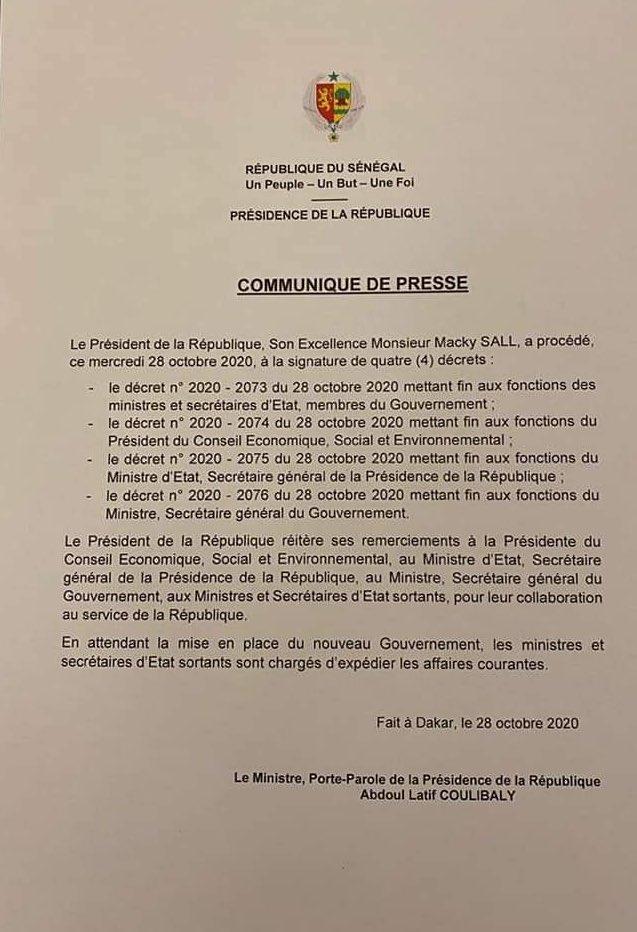 Dernière minute : Aminata Touré, Boun Abdallah Dionne, Maxime Jean Simon Ndiaye, virés