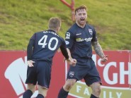 Craig Curran celebrates netting in last week's win