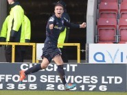 Marcus Fraser celebrates a goal earlier in the season against Partick Thistle