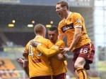 Motherwell celebrate Laing's opening goal