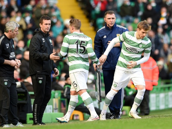 Kris Commons, who has been ruled out recently with a thigh injury, lasted just 11 minutes before he was replaced by Stuart Armstrong.