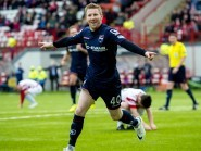 Michael Gardyne celebrates his equalising goal to secure a 2-2 draw at Hamilton