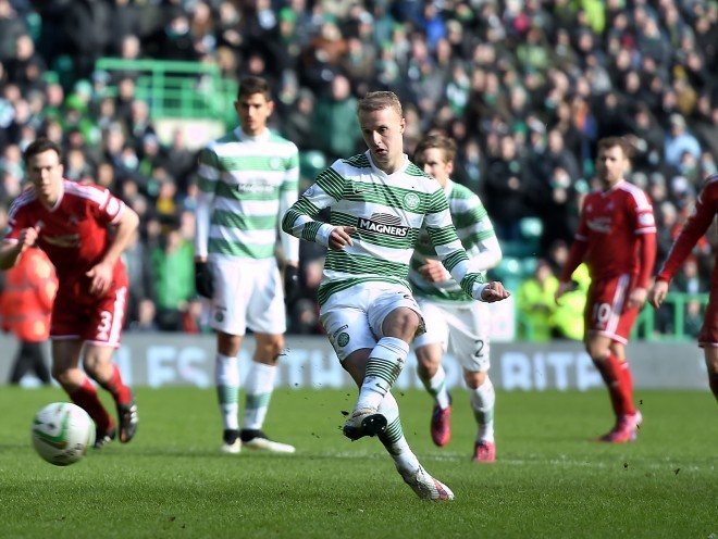 Leigh Griffiths strokes home Celtic's second goal, from the penalty spot.