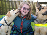 Eilidh and guide dogs Lester, left and Nelson, right.