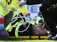 Dean Brill suffered a dislocated knee in a game against Celtic last April.