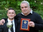 Player of the year Andrew Greig with  manager of the year Davie Kirkwood.  Picture by Gordon Lennox