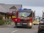 The scene at Wick Swimming Pool, where police, fire and ambulance attended following a chemical problem.