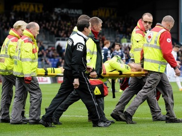 Ross County's Scott Fox was stretchered off in his side's defeat against Caley Thistle on Saturday.