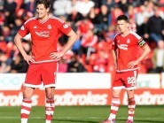 Aberdeen's Ash Taylor (left) and Ryan Jack stand dejected during Saturday's match