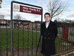 Cllr Steve Delanay outside Holy Family school in Aberdeen
